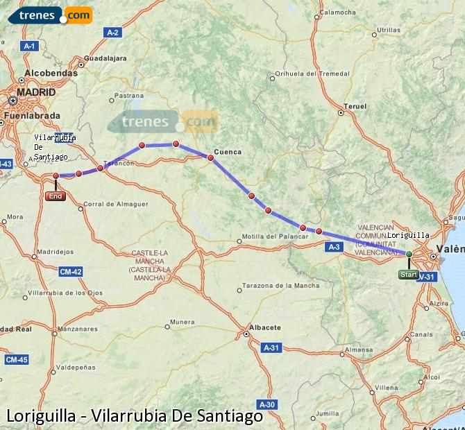 Enlarge map Trains Loriguilla to Vilarrubia De Santiago