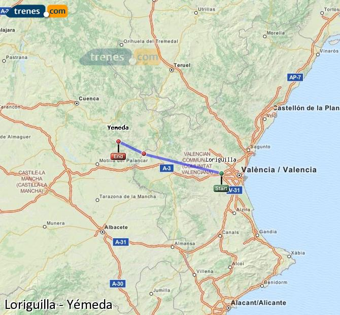 Enlarge map Trains Loriguilla to Yemeda