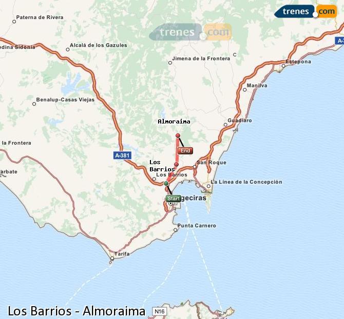 Ingrandisci la mappa Treni Los Barrios Almoraima
