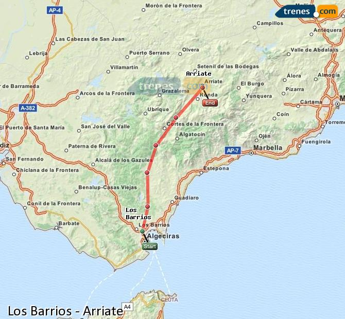 Enlarge map Trains Los Barrios to Arriate
