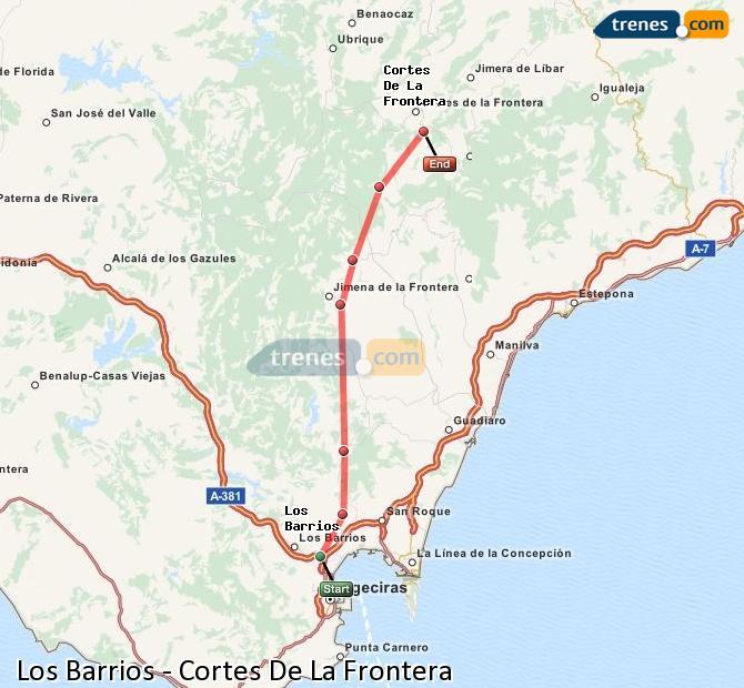 Ingrandisci la mappa Treni Los Barrios Cortes De La Frontera