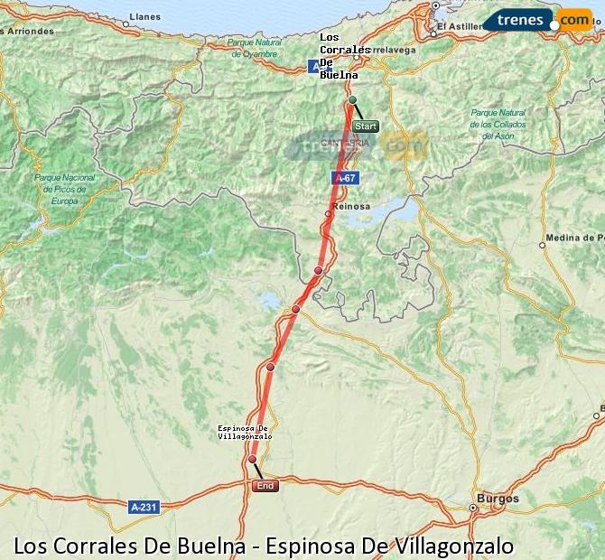 Enlarge map Trains Los Corrales De Buelna to Spinosa De Villagonzalo