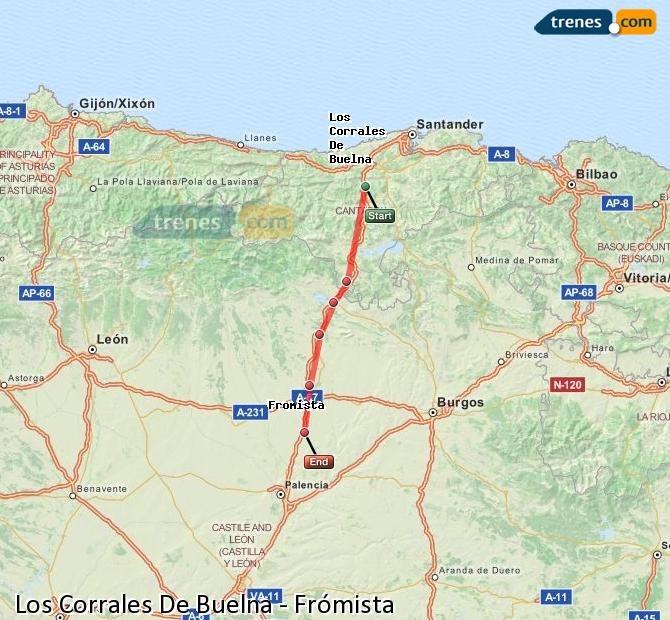 Enlarge map Trains Los Corrales De Buelna to Frómista
