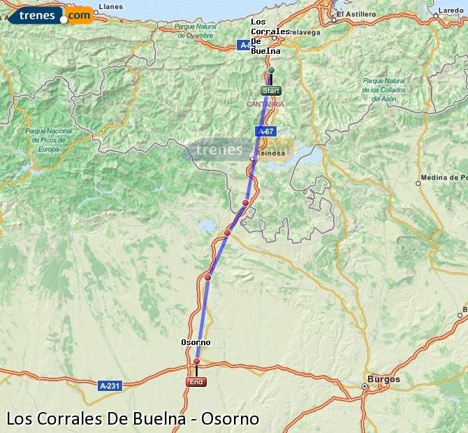 Enlarge map Trains Los Corrales De Buelna to Osorno