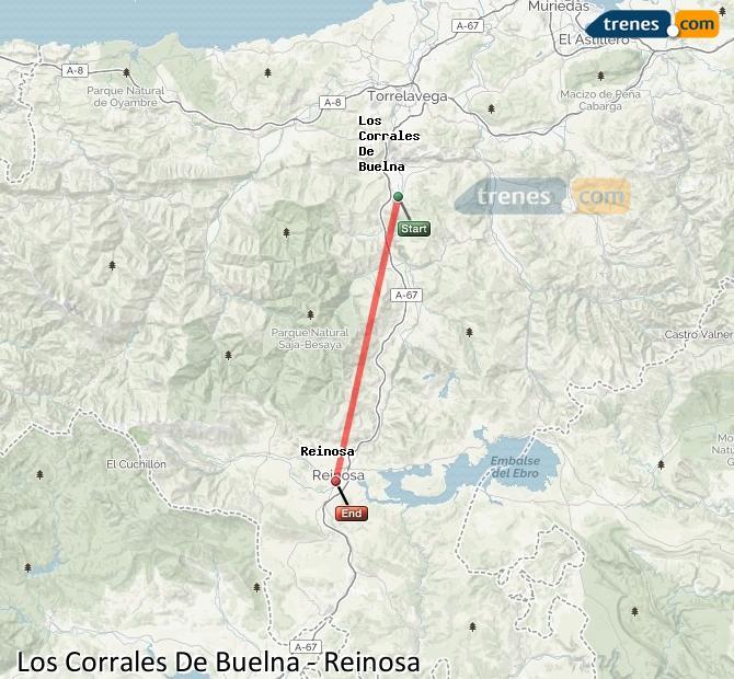 Agrandir la carte Trains Los Corrales De Buelna Reinosa