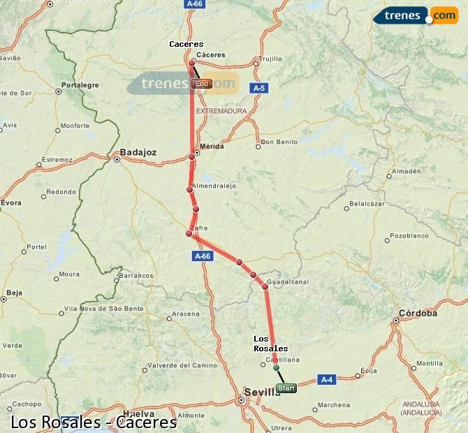 Enlarge map Trains Los Rosales to Caceres