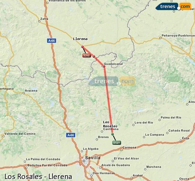 Agrandir la carte Trains Los Rosales Llerena