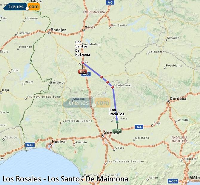 Enlarge map Trains Los Rosales to Los Santos De Maimona