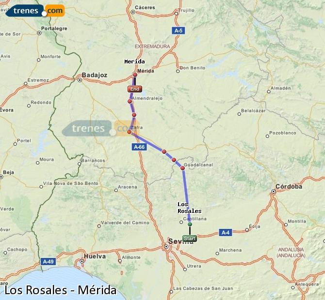 Ampliar mapa Trenes Los Rosales Mérida