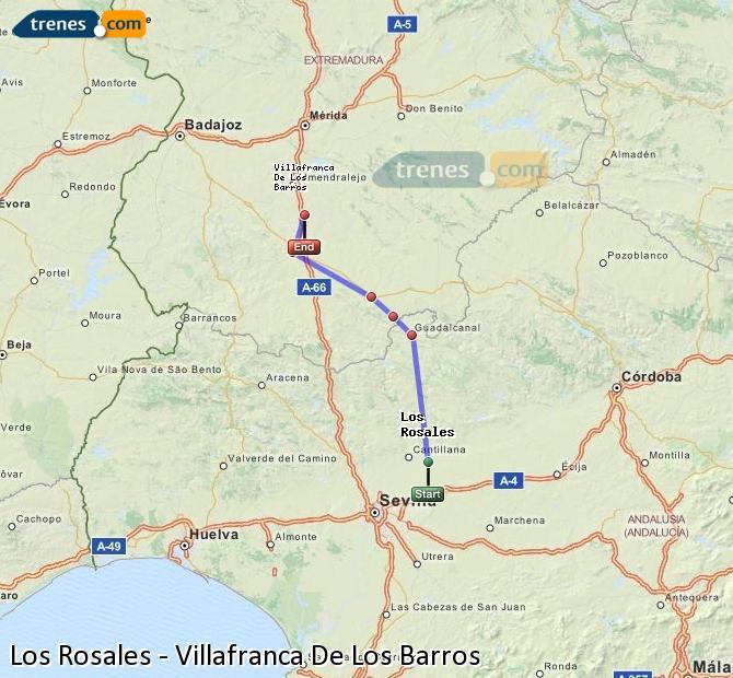 Enlarge map Trains Los Rosales to Villafranca De Los Barros