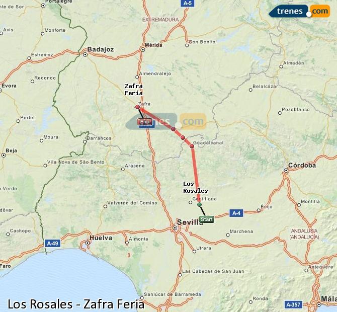 Ingrandisci la mappa Treni Los Rosales Zafra Feria