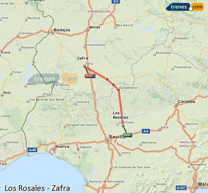 Enlarge map Trains Los Rosales to Zafra