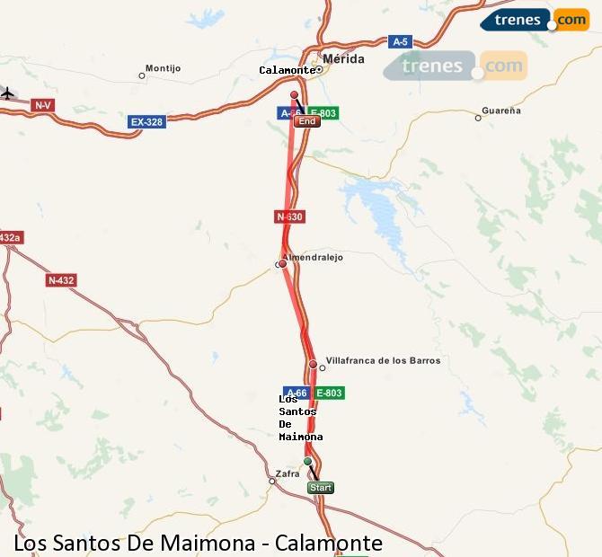 Ingrandisci la mappa Treni Los Santos De Maimona Calamonte