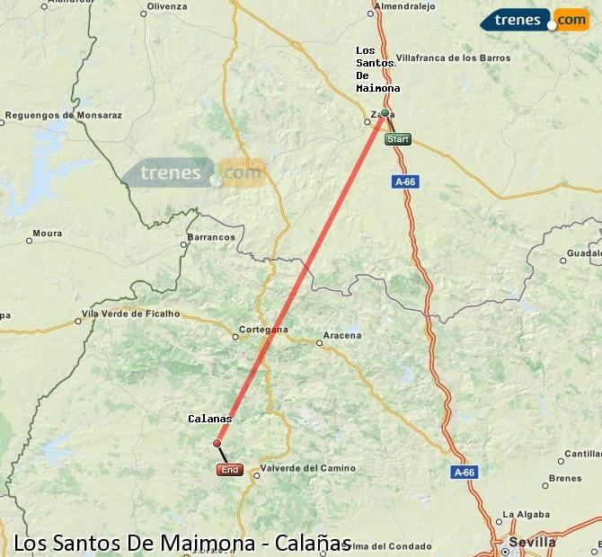 Agrandir la carte Trains Los Santos De Maimona Calañas