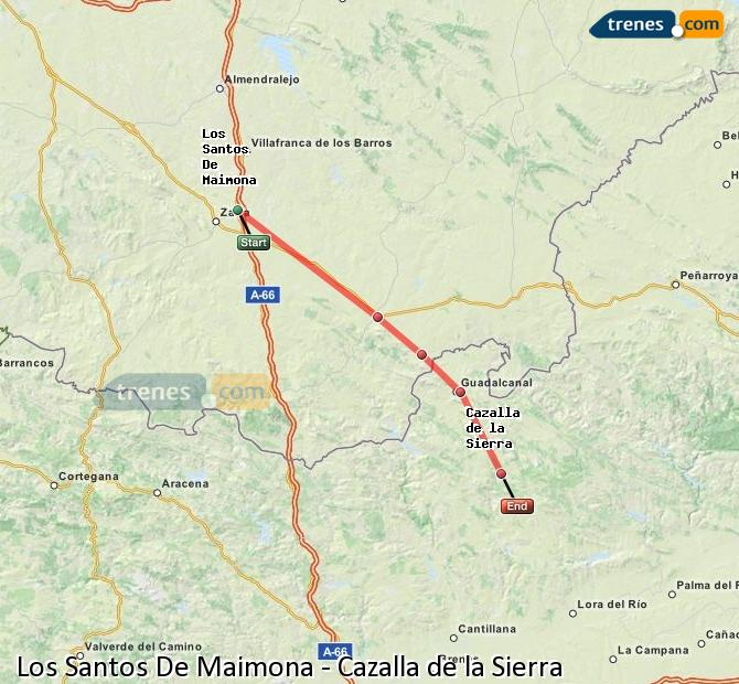Enlarge map Trains Los Santos De Maimona to Cazalla de la Sierra