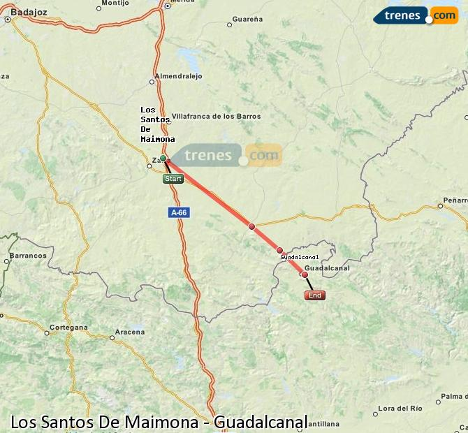 Enlarge map Trains Los Santos De Maimona to Guadalcanal