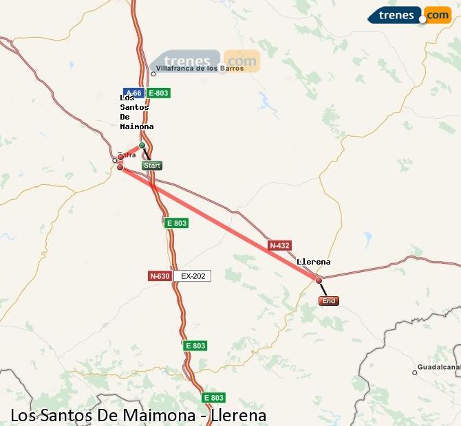 Ingrandisci la mappa Treni Los Santos De Maimona Llerena