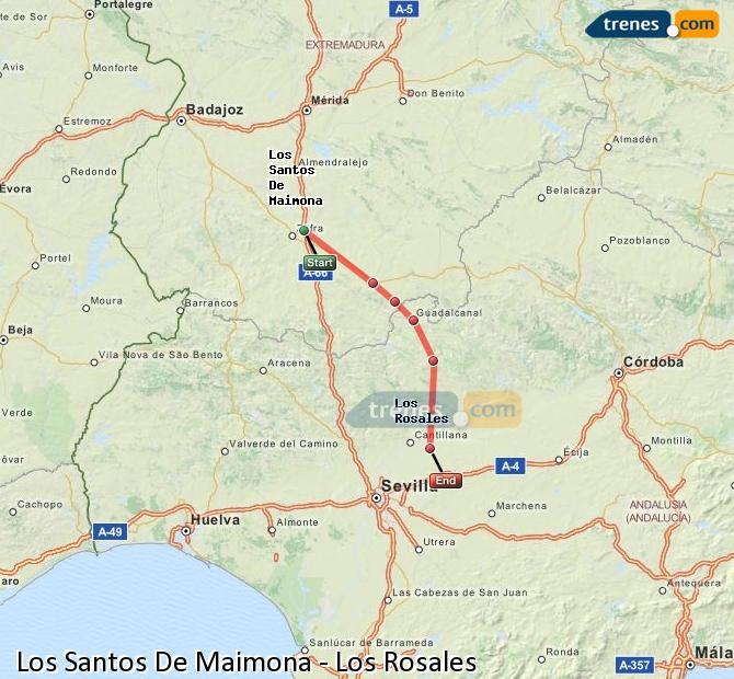 Ampliar mapa Trenes Los Santos De Maimona Los Rosales