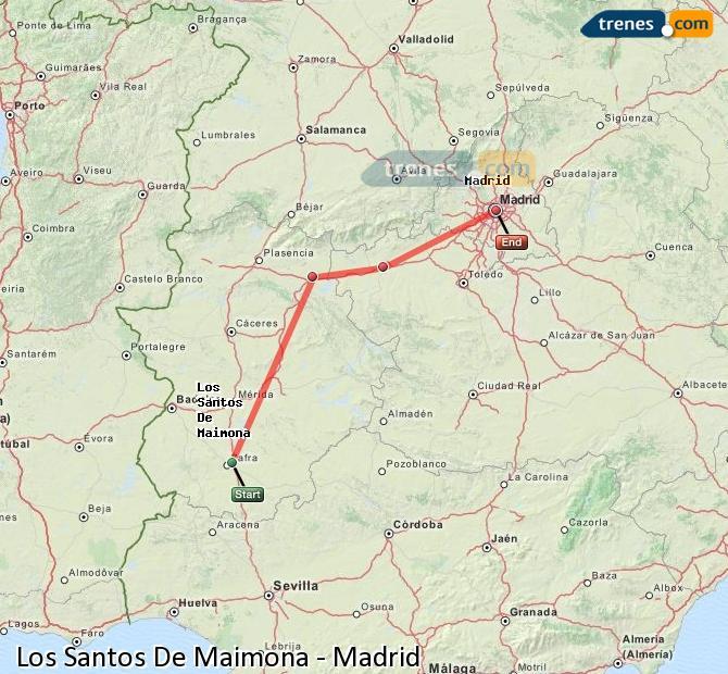Ingrandisci la mappa Treni Los Santos De Maimona Madrid