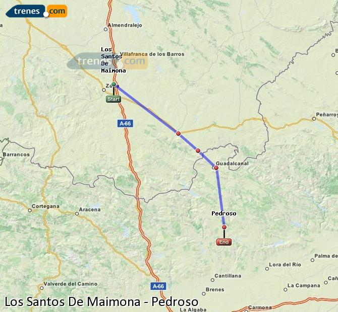 Enlarge map Trains Los Santos De Maimona to Pedroso