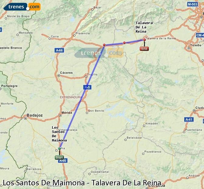 Enlarge map Trains Los Santos De Maimona to Talavera De La Reina
