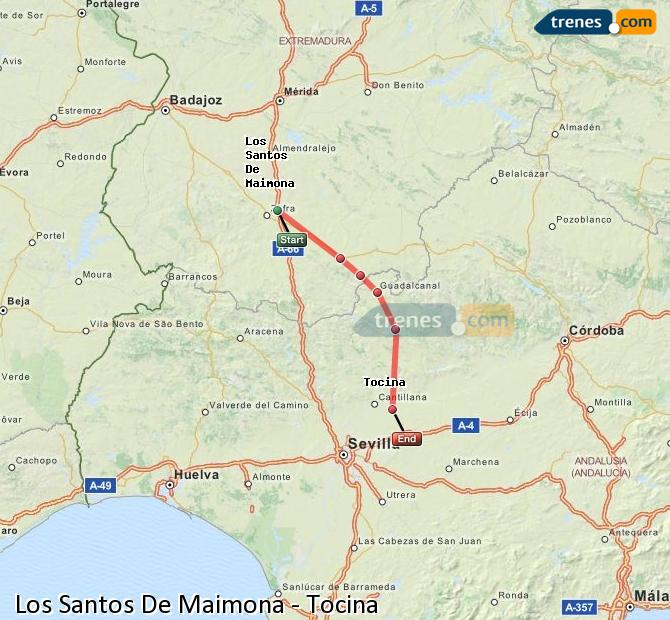 Enlarge map Trains Los Santos De Maimona to Tocina