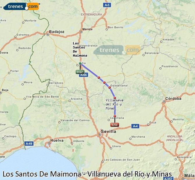 Enlarge map Trains Los Santos De Maimona to Villanueva del Río y Minas