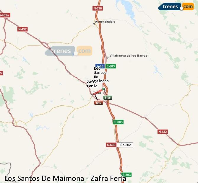 Enlarge map Trains Los Santos De Maimona to Zafra Feria
