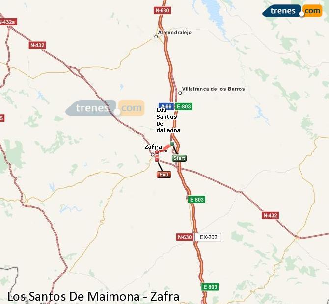 Ampliar mapa Trenes Los Santos De Maimona Zafra