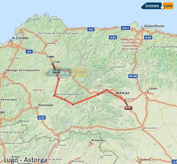 Ampliar mapa Trenes Lugo Astorga