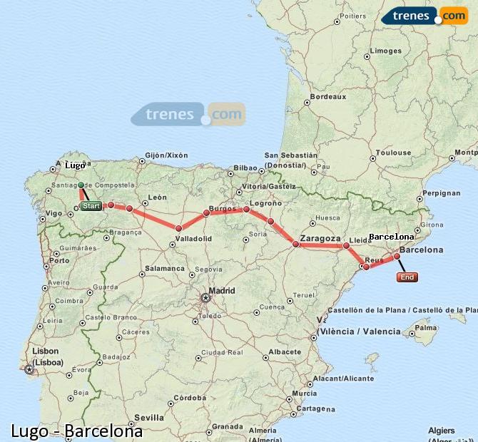 Ingrandisci la mappa Treni Lugo Barcellona