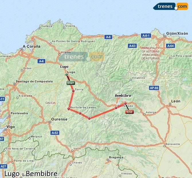 Agrandir la carte Trains Lugo Bembibre