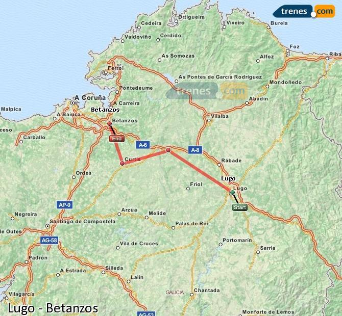 Karte vergrößern Züge Lugo Betanzos