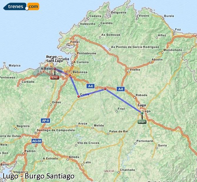 Enlarge map Trains Lugo to Burgo Santiago