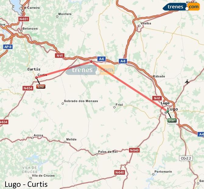 Karte vergrößern Züge Lugo Curtis