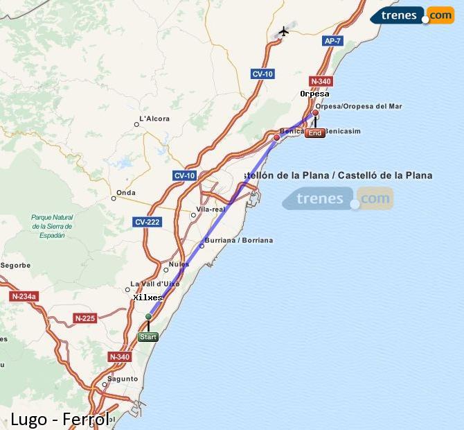 Ampliar mapa Trenes Lugo Ferrol