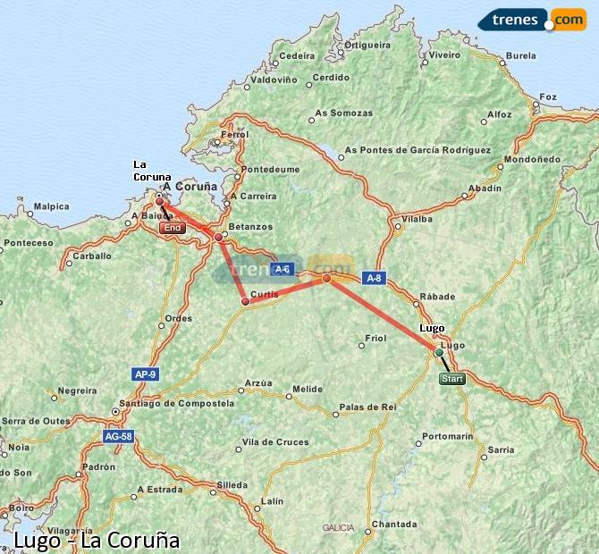 Ingrandisci la mappa Treni Lugo La Coruña