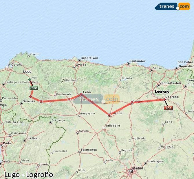Agrandir la carte Trains Lugo Logroño