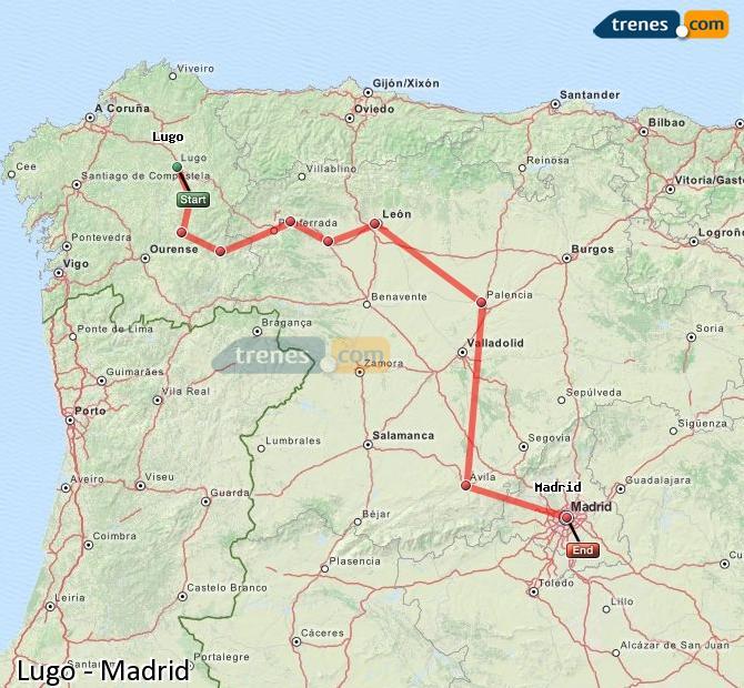 Enlarge map Trains Lugo to Madrid