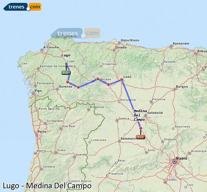 Karte vergrößern Züge Lugo Medina Del Campo