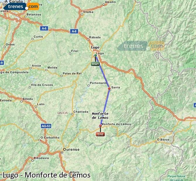 Ampliar mapa Trenes Lugo Monforte de Lemos