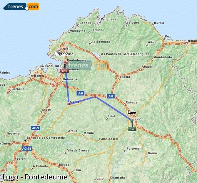 Ampliar mapa Trenes Lugo Pontedeume