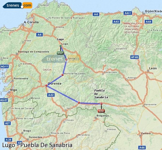 Enlarge map Trains Lugo to Puebla De Sanabria