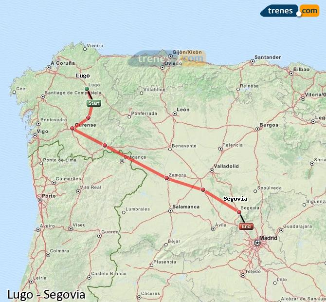 Enlarge map Trains Lugo to Segovia
