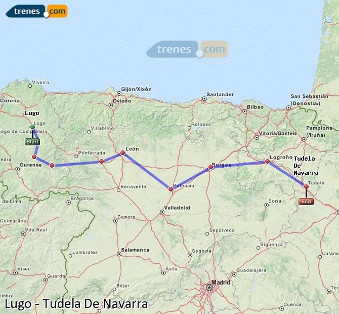Enlarge map Trains Lugo to Tudela De Navarra