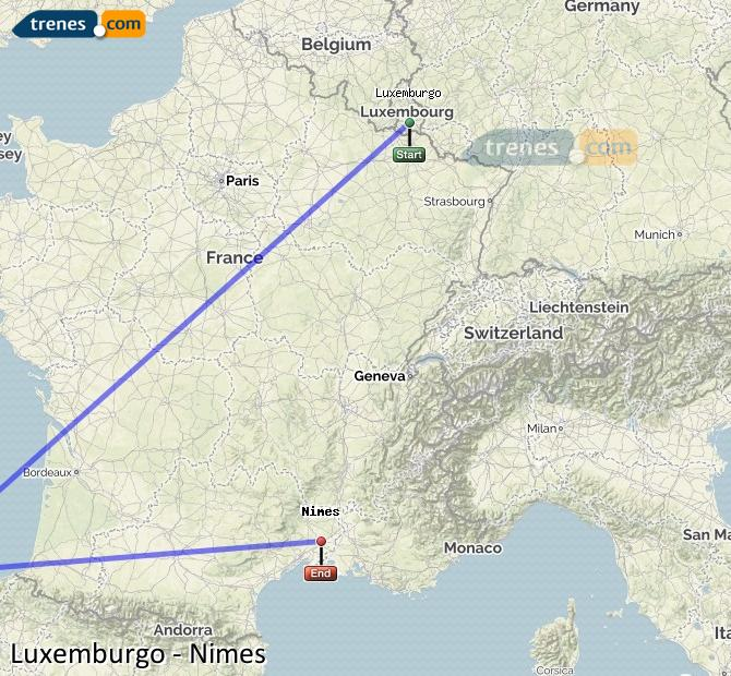 Karte vergrößern Züge Luxemburg Nimes