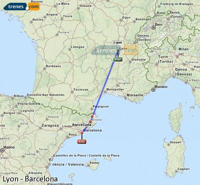 Agrandir la carte Trains Lyon Barcelone