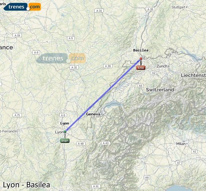 Agrandir la carte Trains Lyon Bâle