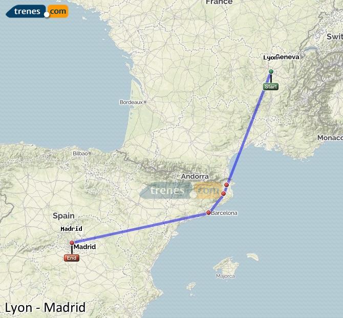 Agrandir la carte Trains Lyon Madrid