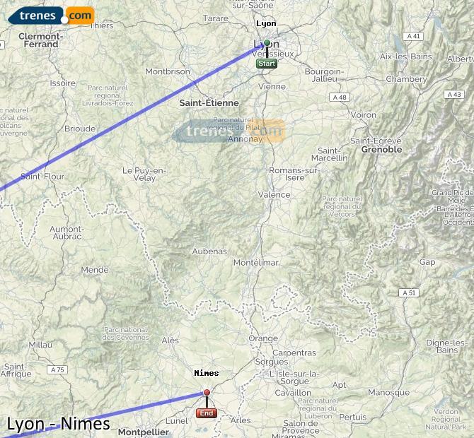 Karte vergrößern Züge Lyon Nimes